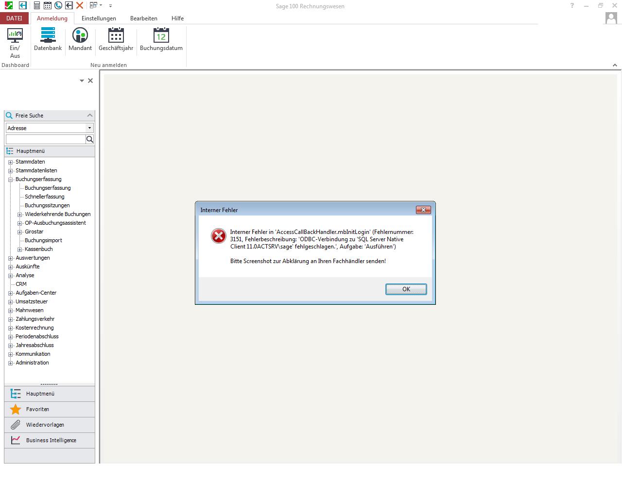 Sage 100 Problem Fehler ODCB Fehlermeldung SQL-Server Client