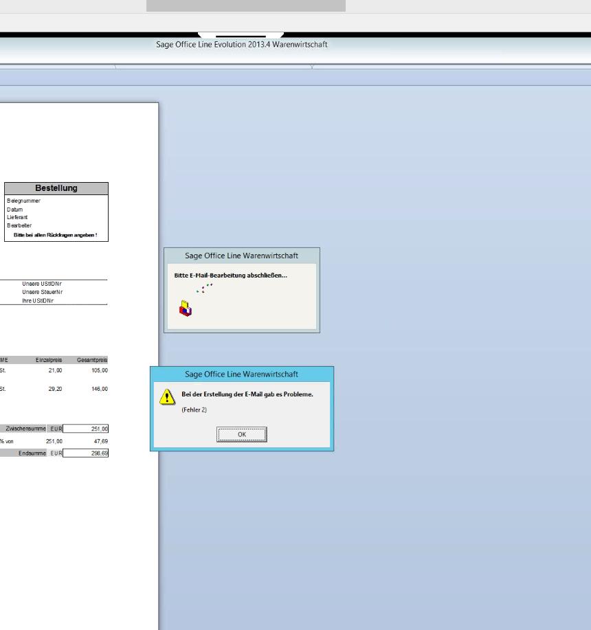 Sage 100 Problem E-Mail Versand Probleme
